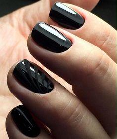 Black nail art, Black nails ideas, Classic nails ideas, Dark short nails, Drawings on nails, Evening nails, Evening short nails, Hardware nails