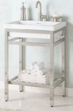 Empire Industries South Beach 21 Stainless Steel Console Vanity for Milano Ceramic Sink Bathroom Vanities Without Tops, Bathroom Vanity Base, Vanity Cabinet, 24 Vanity, Console Sink, Console Table, Ceramic Sink, Stone Countertops, Shower Enclosure