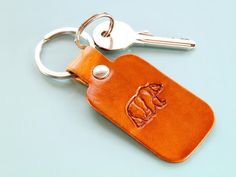 handmade bear leather keychain, special gift for him Leather Bookmark, Leather Keyring, Leather Gifts, Leather Craft, Handmade Leather, Special Gifts For Him, Gifts For Dad, Gifts For Friends, Leather Anniversary Gift