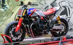 Honda has confirmed that its new TR concept and Africa Twin Enduro Sports concept will be on display at Motorcycle Live – the first time the bikes will have been seen in the UK. Motorcycle Decals, Tracker Motorcycle, Moto Bike, Cafe Racer Style, Cafe Racer Bikes, Honda Bikes, Kawasaki Motorcycles, Custom Street Bikes, Custom Bikes