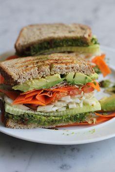 Vegan Power Sandwich with Asparagus Pesto - Hip Foodie Mom @aleedallas