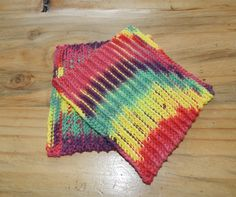 set of 2 washcloths - tie dye, fun, 100% cotton. $5.00, via Etsy.