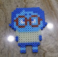 Sadness - Inside Out perler beads by Perler Beads, Fuse Beads, Disney Cross Stitch Patterns, Pearler Bead Patterns, My Little Girl, Bead Crafts, Beading Patterns, Pixel Art, Pixar
