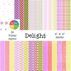 Delight Digital Papers - Card making - Scrap booking - Instant Download - 300dpi - Backing Papers - 30 Digi Papers by PaperLozzy on Etsy