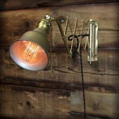 Vintage Industrial Brass Scissor Arm Wall Lamp Adjustable Light Reading