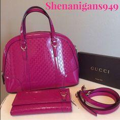 Gucci Purse & Wallet Set Fuchsia Patent Leather