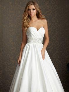 Ball Gown Sweetheart Satin Sweep Train Beading Wedding Dresses