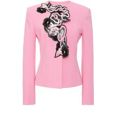 Christopher Kane Cropped Tailored Jacket With Art Nouveau Motif (2,720 CAD) ❤ liked on Polyvore featuring outerwear, jackets, pink jacket, christopher kane jacket, long sleeve jacket, tailored jacket and christopher kane