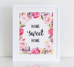 Home Sweet Home Art Print Printable Floral Wall by DecorartDesign