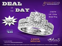Grab Today's Deal of the Day. A Gorgeous Diamond Bridal Ring at amazingly low price by Ashnis Collection.