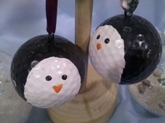 Hey, I found this really awesome Etsy listing at https://www.etsy.com/listing/210191591/penguin-golf-ball-ornament-hand-painted