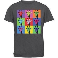 Giraffes Pop Art Repeating Squares Dark Heather Adult T-Shirt � Large � Friendly Faces