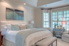 Inspiration for LaDanna - Bedroom ideas. Furniture placement in bay window. Neutral colors with a hint of color.