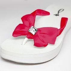 Website: www.WeddingsAreFun.com  Custom Made Bridal Flip Flops are available in 59 Ribbon Colors!  #WeddingFlipFlops