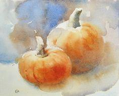 Pumpkins Watercolor Original Painting 8x10 inches