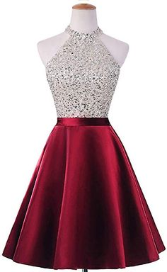 900495c44bf1 Amazon.com: HEIMO Women's Sequined Keyhole Back Homecoming Dresses Beaded  Prom Gowns Short H198