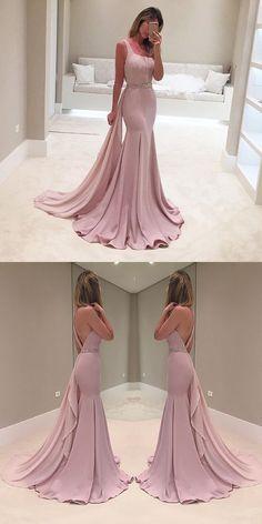 cheap blush pink long prom dress backless sleeveless formal mermaid evening dress