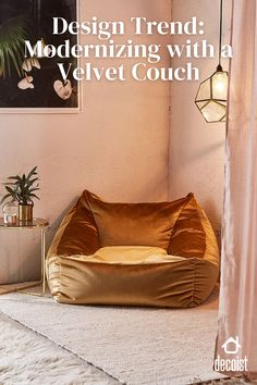 Velvet lounge chair in gold is a unique take on a velvet couch for cozy living room decor