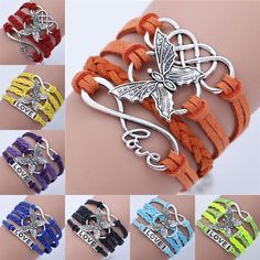 Diy Bracelets Easy, Layered Bracelets, Handmade Bracelets, Infinity Love, Infinity Charm, Knit Bracelet, Butterfly Bracelet, Sterling Silver Charm Bracelet, Beaded Jewelry