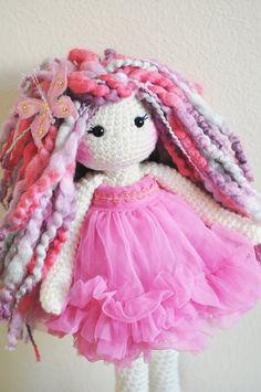 17 Crochet Doll Ready to ship. Gorgeous purple by LinaMarieDolls
