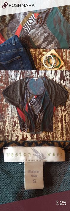 """Anthropologie Weston Wear Top Gorgeous intricate print in Weston Wear's signature nylon mesh. Low scoop neck, draped short sleeves with gathering at sleeve hem. Lined bodice in front. Length- 25"""" Excellent used condition. Anthropologie Tops Blouses"""