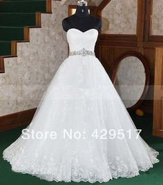 Best selling  Sweetheart  Ball gown  Beaded  Plus size  Bandage  Women  Wedding Dress  With  Crystal  Belt    $166.00