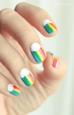 Rainbow manicure! Perfect for, say, a Rainbow Brite costume.
