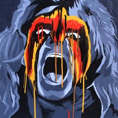 Acrylic and oil on 24″ x 24″ wood    Former WWF Champion the Ultimate Warrior  l #WWE