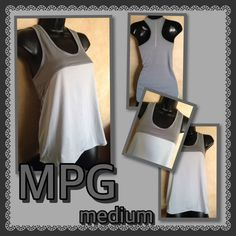 MPG-Loose-Fit Tank Top-Med- Silver/Gray Cute 2-Toned Silver/Gray Tank Top- cover Top- Loose-fit-Racerback-12%Spandex MPG Tops Tank Tops