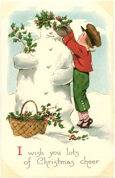 Free Vintage Snowman Image - The Graphics Fairy Images Vintage, Vintage Christmas Images, Antique Christmas, Noel Christmas, Retro Christmas, Vintage Holiday, Christmas Pictures, Christmas Greetings, Christmas Postcards