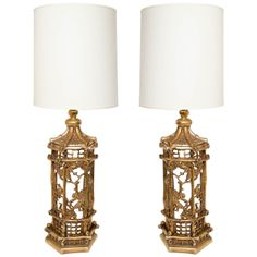 pair of exceptional gilt chinoiserie lamps in the manner of james mont - 1940s - usa - HEIGHT: 42.5 in. (108 cm) DEPTH: 10.25 in. (26 cm)