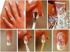 Paint over lace or mesh to create an easy design. | 32 Easy Nail Art Hacks For The Perfect Manicure