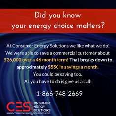 Check out this latest customer success! At Consumer Energy Solutions we believe that your energy choices matter. If you're in a deregulated state, let us see what we can #save you on your energy bill.  Call us today at 866-748-2669 for a #free rate analysis!  Visit us online at: http://www.consumerenergysolutions.com/?utm_content=buffer93803&utm_medium=social&utm_source=pinterest.com&utm_campaign=buffer  #CES #Energy #Brokers #Savings #Commercial