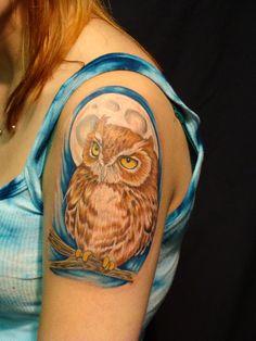 Shoulder Owl Tattoo Pinned by www.myowlbarn.com