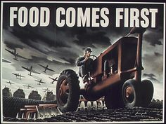 Food comes first! A country at war---as in a World War-- gets its priorities straight. This US government made extra efforts to be sure farming continued even while many able-bodied men went to the front lines of battle.