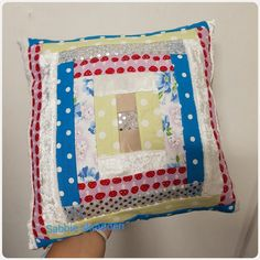 Pillow from scraps Stuffed with scraps and thread Pot Holders, Scrap, Throw Pillows, Quilts, Blanket, Pattern, Crafts, Design, Comforters