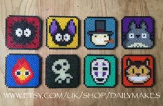 Studio Ghibli coasters perler beads by DailyMakes ***ASHTIN I want the two on the right***
