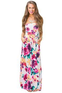 Beautiful Floral Print Strapless Maxi Boho Dress LAVELIQ