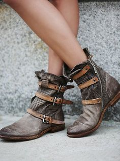 Topanga Buckle Boot | Washed leather ankle boots with snakeskin textured buckles and facing side zips for easy on/off.