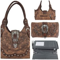 Western Style Belts Buckle Concealed Carry Handbags Country Cowgirl Purse Messenger Shoulder Bag Wallet Set Brown Western Style Belts, Concealed Carry Handbags, Belt Buckles, Westerns, Shoulder Bag, Wallet, Purses, Country, Brown
