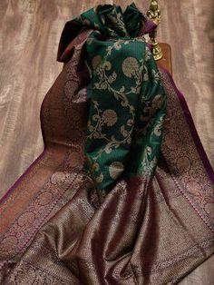 Green and Teal Green Half Half Antique Zari Pure Katan Silk Banarasi S New Saree Designs, Saree Tassels Designs, Sari Blouse Designs, Designs For Dresses, Blue Silk Saree, Soft Silk Sarees, Brocade Saree, Cotton Saree, Red Saree Wedding