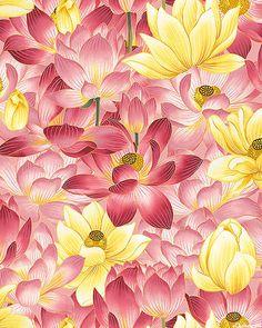 Nobu Fujiyama Sanctuary II - Lotus Reflections - Rose Pink/Gold