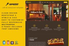 Arezzo - Cafe & Restaurant Template. Bootstrap Themes. $10.00