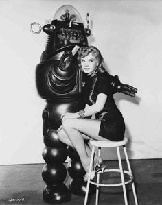 Forbidden Planet Publicity Photo - Anne Francis and Robby the Robot