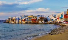 The unique neighborhood of Little Venice in Mykonos, a feast of colors! Mykonos Island, Fine Sand, Art Of Man, Venice, The Neighbourhood, Greece, Luxury, Colors