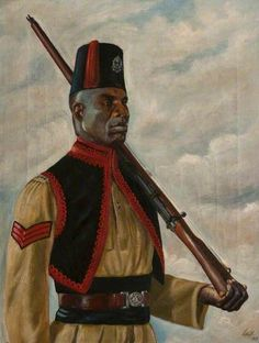 Nigerian Orderly Sergeant by West East, British Armed Forces, Men In Uniform, East Africa, African Art, The Past, Military, Middle East, Painting