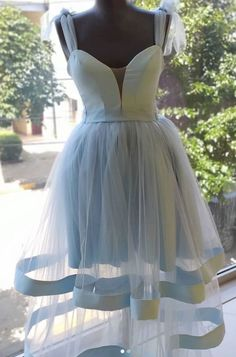Simple blue tulle short prom dress, blue tulle homecoming dress by olesaweddingdresses, $124.28 USD