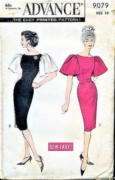 Advance 9079 Vintage 1950s Sheath Evening Dress with HUGE