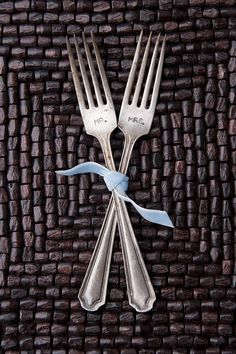 Mr & Mrs Vintage Sterling Silver Plated #Forks by therhouse on Etsy, $13.00