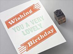 Letterpress Geburtstagskarte von Designed, handprinted & manufactured in Vienna. Very Lovely, Vienna, Letterpress, Love Story, Usb Flash Drive, Paper, Design, Paper Mill, Birthday